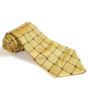Fendi Men Yellow Geometric Gold Yellow Silk Tie